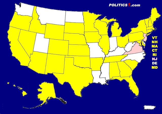 2017 Gubernatorial Elections In Pink 2018 Election In Yellow